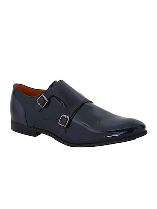 navy Patent Leather slip on monk straps - 15613371 - Standard Image - 1