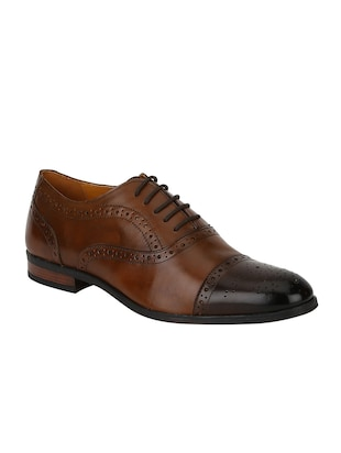 tan Leather lace-up oxfords - 15613374 - Standard Image - 1