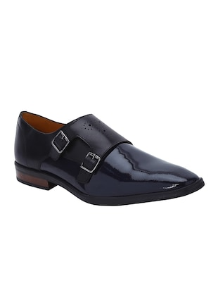 navy Patent Leather slip on monk straps - 15613376 - Standard Image - 1
