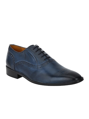 navy Leather lace-up oxfords - 15613379 - Standard Image - 1