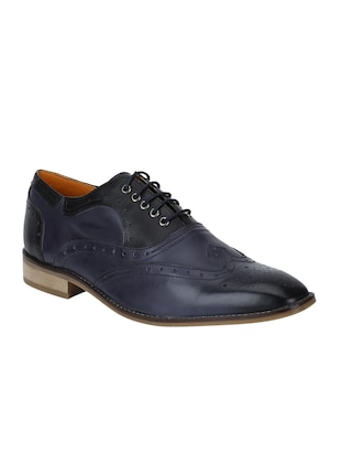 navy Leather lace-up brouges - 15613398 - Standard Image - 1
