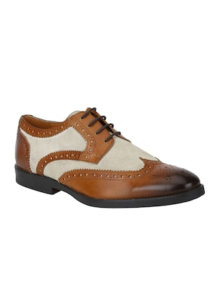tan Leather lace-up derbys - 15613423 - Standard Image - 1