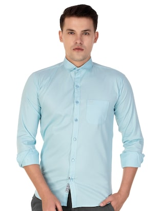blue cotton casual shirt - 15613437 - Standard Image - 1
