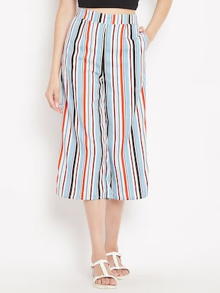mid rise striped culotte - 15613510 - Standard Image - 1