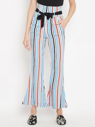 flared hem striped trouser - 15613513 - Standard Image - 1