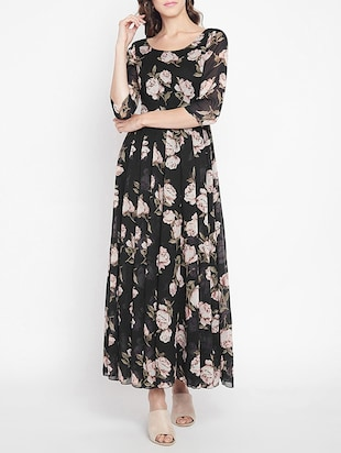 pleated floral maxi dress - 15613523 - Standard Image - 1