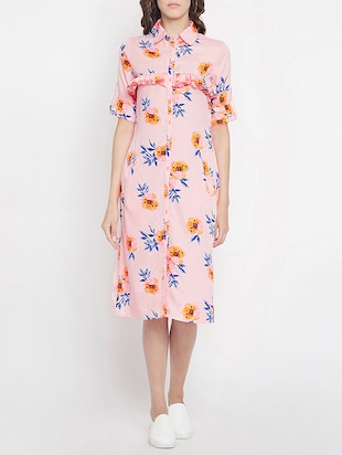 frill detail floral shirt dress - 15613533 - Standard Image - 1