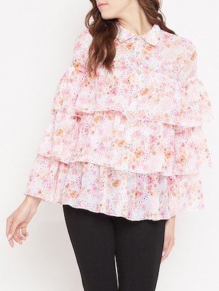 button up ditsy floral layered top - 15613548 - Standard Image - 1