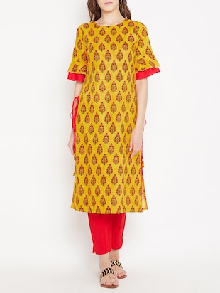 Straight printed kurta with tassels - 15613595 - Standard Image - 1