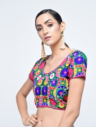 multi cotton embroidered blouse - 15613777 - Standard Image - 1