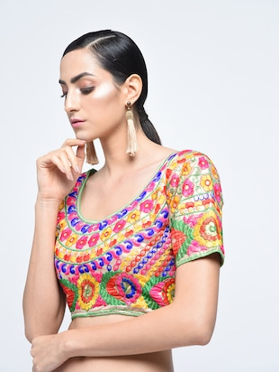 multi silk embroidered blouse - 15613779 - Standard Image - 1