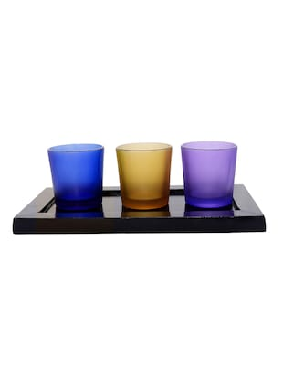 Hand Crafted Glass Votives with wooden Tray - 15614337 - Standard Image - 1