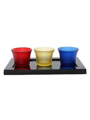 Hand Crafted Glass Votives with wooden Tray - 15614339 - Standard Image - 1