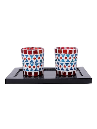 Hand Crafted Glass Votives with wooden Tray - 15614353 - Standard Image - 1