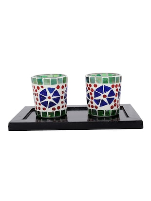 Hand Crafted Glass Votives with wooden Tray - 15614356 - Standard Image - 1