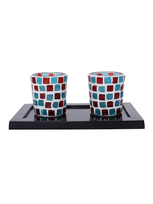 Hand Crafted Glass Votives with wooden Tray - 15614358 - Standard Image - 1