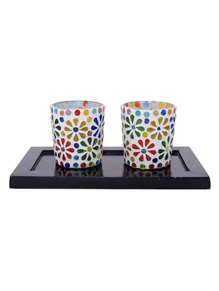 Hand Crafted Glass Votives with wooden Tray - 15614362 - Standard Image - 1
