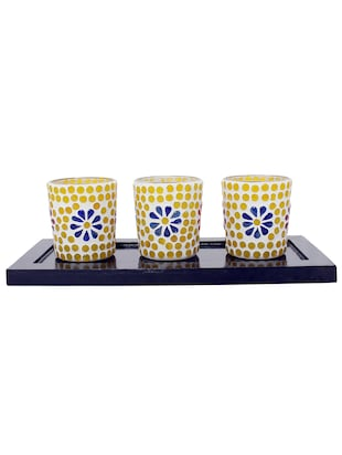 Hand Crafted Glass Votives with wooden Tray - 15614374 - Standard Image - 1