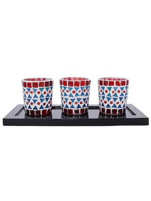 Hand Crafted Glass Votives with wooden Tray - 15614375 - Standard Image - 1