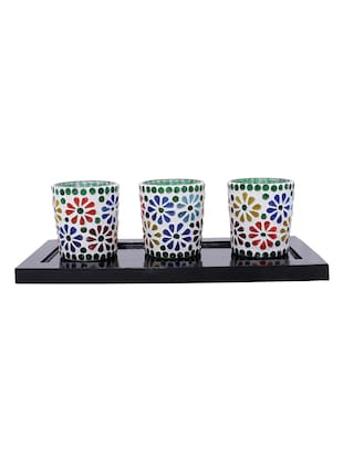 Hand Crafted Glass Votives with wooden Tray - 15614378 - Standard Image - 1