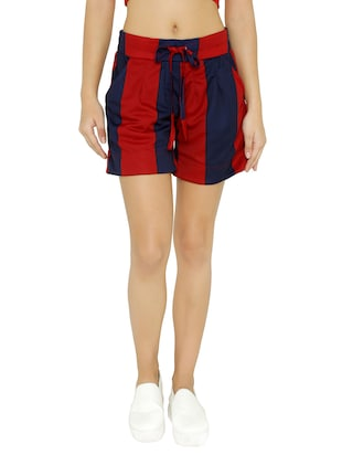 drawstring waist striped shorts - 15614581 - Standard Image - 1