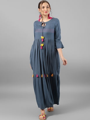 Flared dress with tassels - 15614664 - Standard Image - 1
