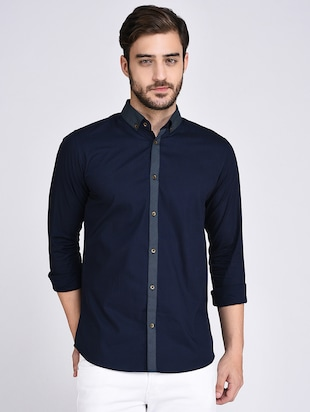 navy blue cotton casual shirt - 15614737 - Standard Image - 1