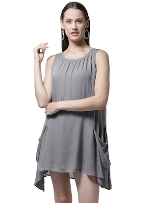 pocket detail asymmetric dress - 15615400 - Standard Image - 1