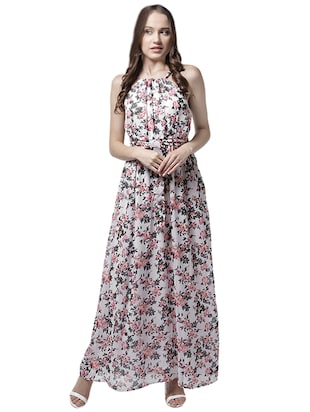 halter neck floral maxi dress - 15615409 - Standard Image - 1