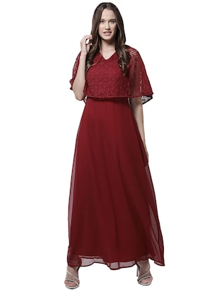 v neck lace overlay maxi dress - 15615418 - Standard Image - 1