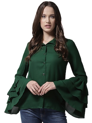 layered bell sleeved shirt - 15615425 - Standard Image - 1