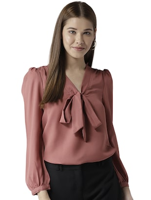 gather detail tie up neck top - 15615430 - Standard Image - 1