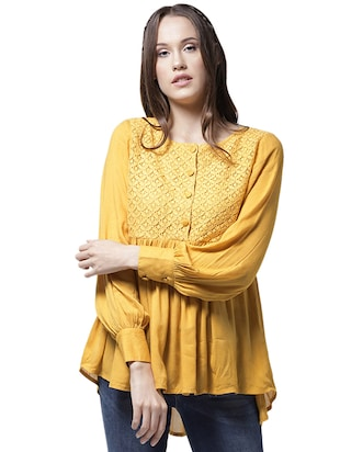 lace yoke gather detail asymmetric top - 15615432 - Standard Image - 1