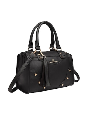 black leatherette (pu) regular handbag - 15615502 - Standard Image - 1