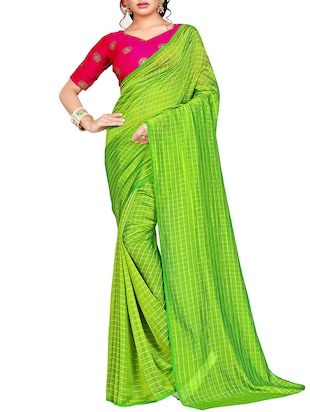 checkered woven saree with blouse - 15615578 - Standard Image - 1