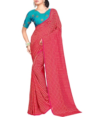 checkered woven saree with blouse - 15615580 - Standard Image - 1
