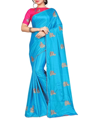conversational embroidered saree with blouse - 15615583 - Standard Image - 1