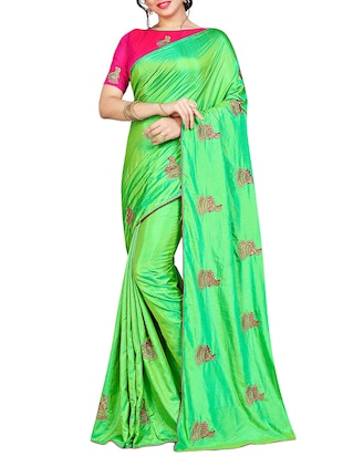 conversational green embroidered saree with blouse - 15615584 - Standard Image - 1