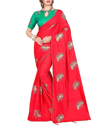 conversational red embroidered saree with blouse - 15615593 - Standard Image - 1