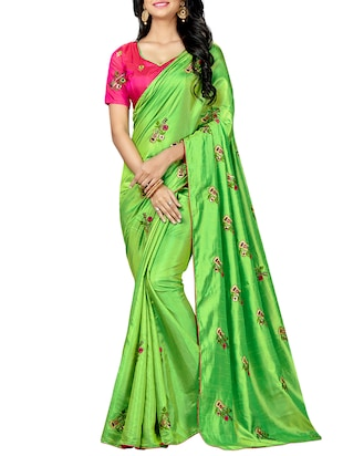 conversational green embroidered saree with blouse - 15615602 - Standard Image - 1