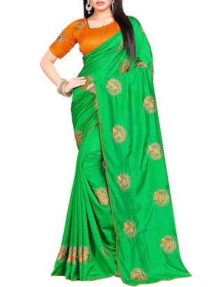 conversational green embroidered saree with blouse - 15615607 - Standard Image - 1