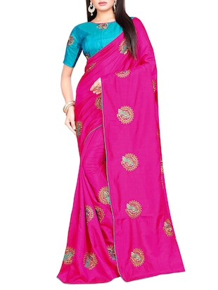 conversational pink embroidered saree with blouse - 15615608 - Standard Image - 1