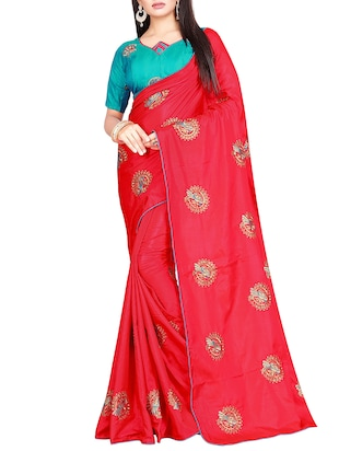 conversational red embroidered saree with blouse - 15615609 - Standard Image - 1