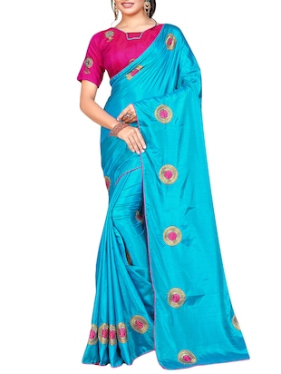 floral blue embroidered saree with blouse - 15615616 - Standard Image - 1