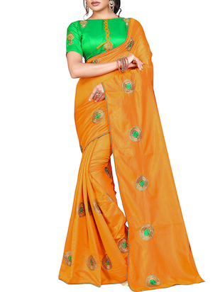 floral orange embroidered saree with blouse - 15615617 - Standard Image - 1