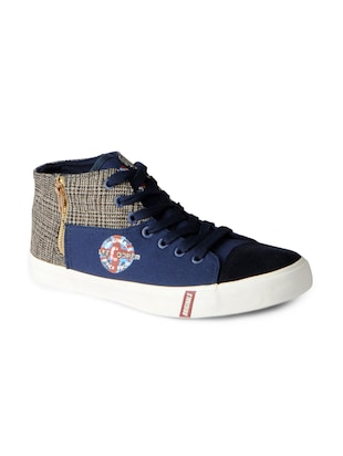 navy Canvas lace up sneakers - 15615697 - Standard Image - 1