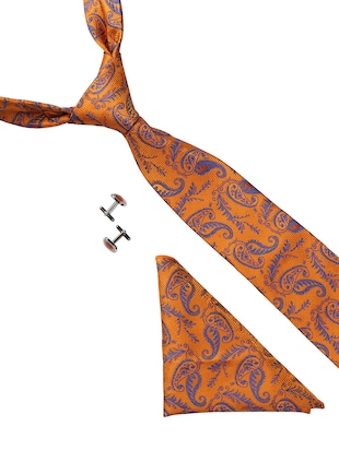 orange micro fiber tie with cufflink and pocketsquare - 15615760 - Standard Image - 1