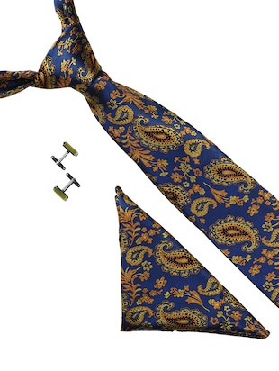 blue microfiber tie with cufflink and pocket square - 15615762 - Standard Image - 1