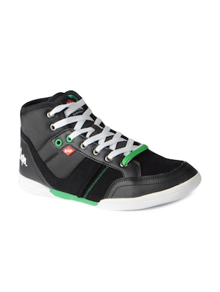 black leatherette lace up sneakers - 15616051 - Standard Image - 1