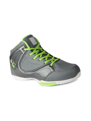 grey leatherette lace up sport shoes - 15616063 - Standard Image - 1